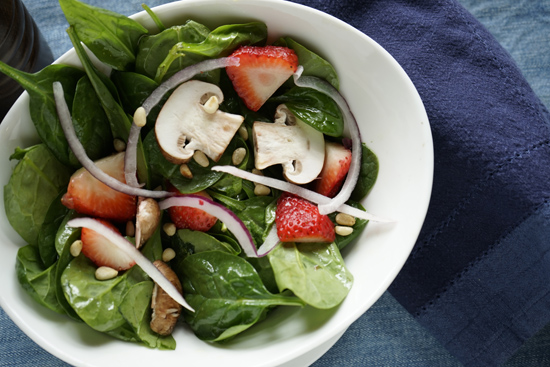 Spinach Salad with Strawberries, Pine Nuts, Mushrooms and Sweet Balsamic Vinaigrette