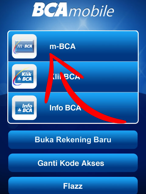 Masuk ke aplikasi m-Bca lalu log in