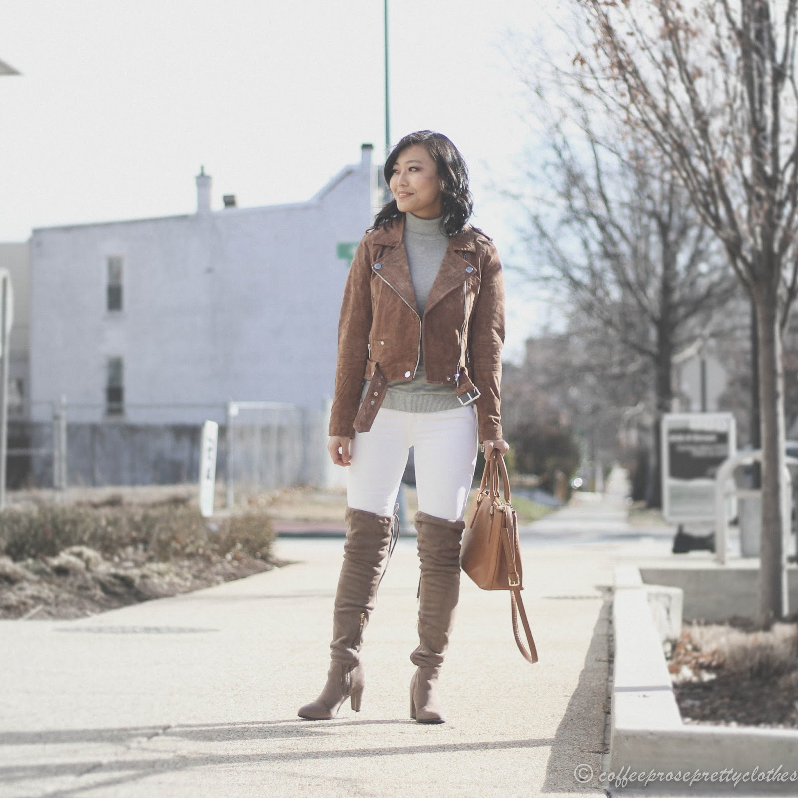 Blank NYC suede moto jacket, Over the knee boots, turtleneck, J.Crew white jeans