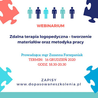 plakat reklamowy webinar Zdalna terapia logopedyczna – tworzenie materiałów oraz metodyka prac