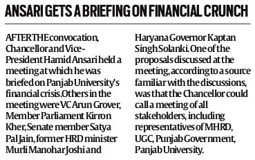 Ansari gets a briefing on financial crunch