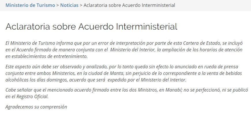 Robert salvatierra ministerio de turismo rectifica for Horario ministerio del interior