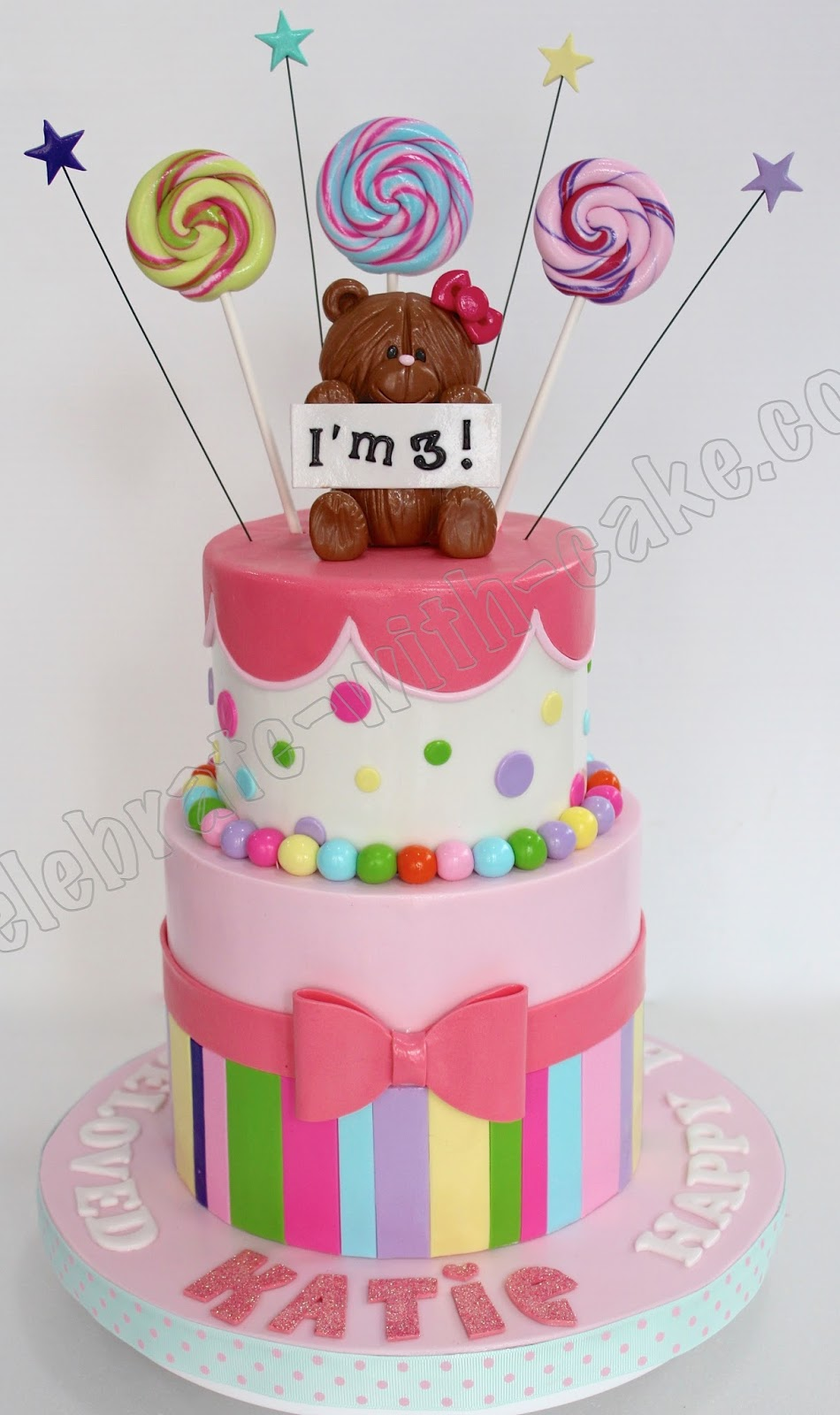 Candy Themed Tier Cake With Teddy Topper