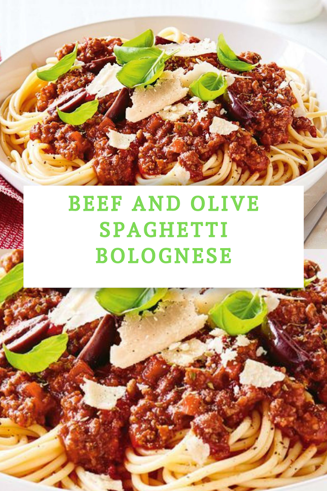 Beef and olive spaghetti bolognese