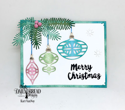 Our Daily Bread Designs Custom Dies: Retro Ornaments, Holiday Words, Pine Branches, Snowflake Sky(for the frame)