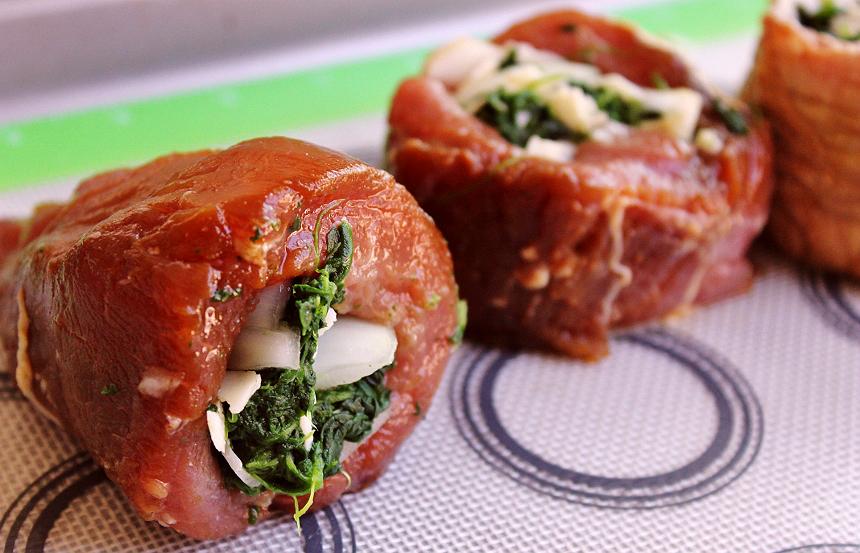 Pan Seared Shallot Stuffed Pork Fillet