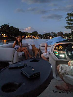 Pontoon Boat on lake Orion in evening
