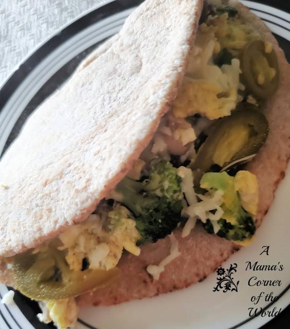 Make this easy broccoli cheddar breakfast pita sandwich