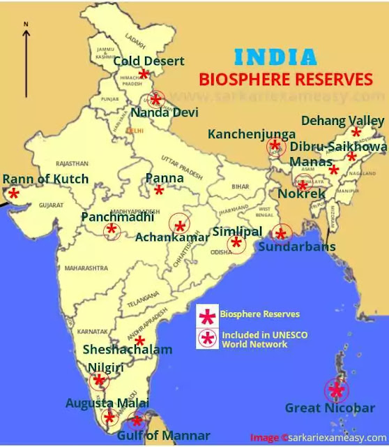 Biosphere Reserves in India map