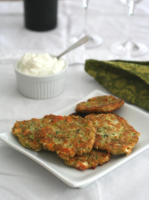 Lpw-Carb and Gluten-Free Zucchini and Feta Fritters from All Day I Dream About Food featured for Low-Carb Recipe Love on Fridays (7-29-16) found on KalynsKitchen.com