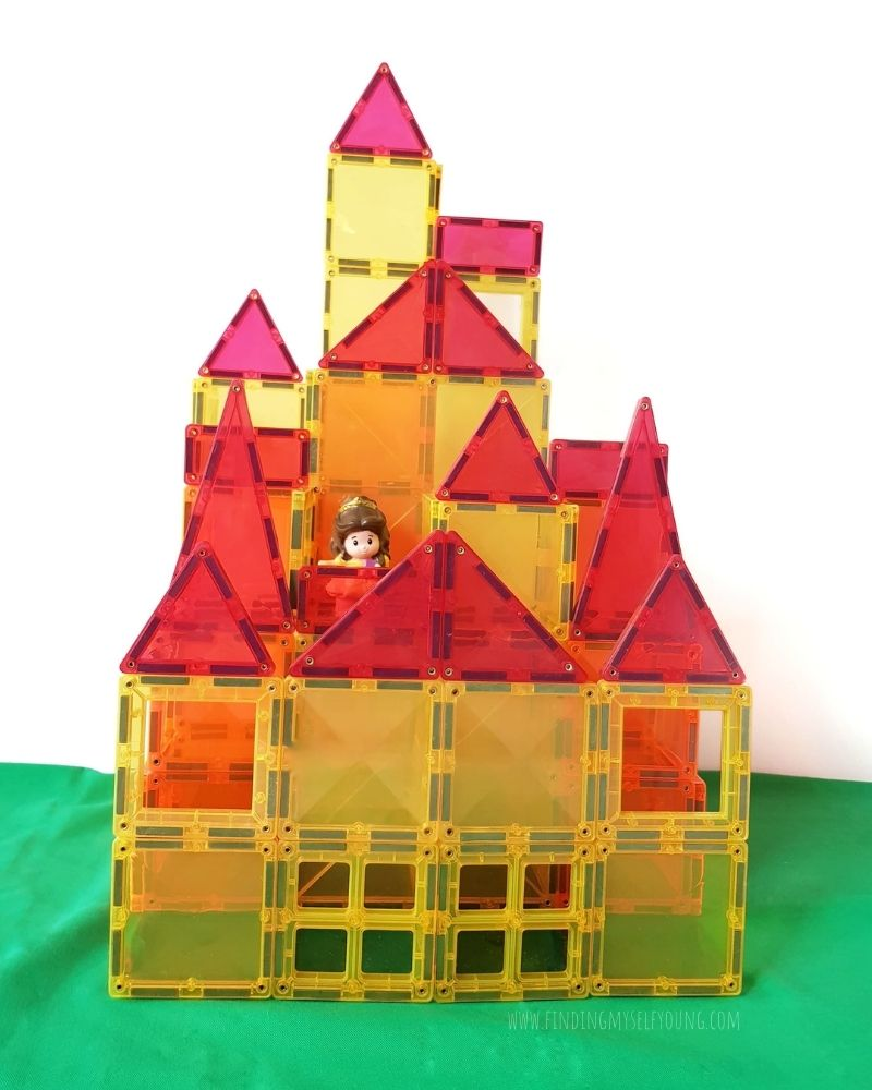 beauty and the beast castle made from connetix magnetic tiles