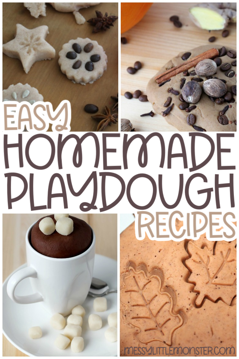 Easy homemade playdough recipes. No cook playdough, edible playdough and cooked playdough recipes.