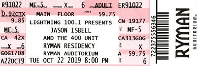 Jason Isbell & The 400 Unit Ryman Auditorium ticket