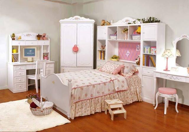 Contoh desain kamar tidur anak perempuan sederhana
