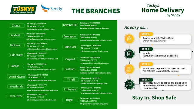 Tuskys WhatsApp and Till numbers list provided from the tuskys branches