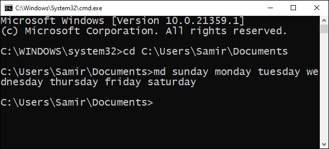 تعدد المجلدات والأوامر في CMD