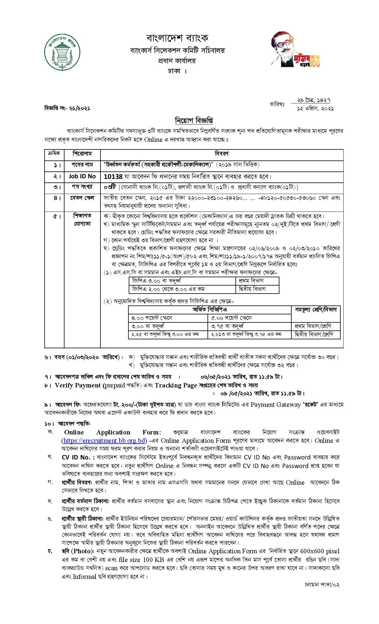 Combined 3 Bank Job Circular 2021