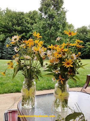 mason jar, wildflowers