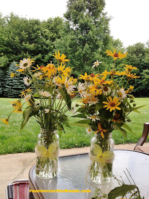 mason jar, wildflowers