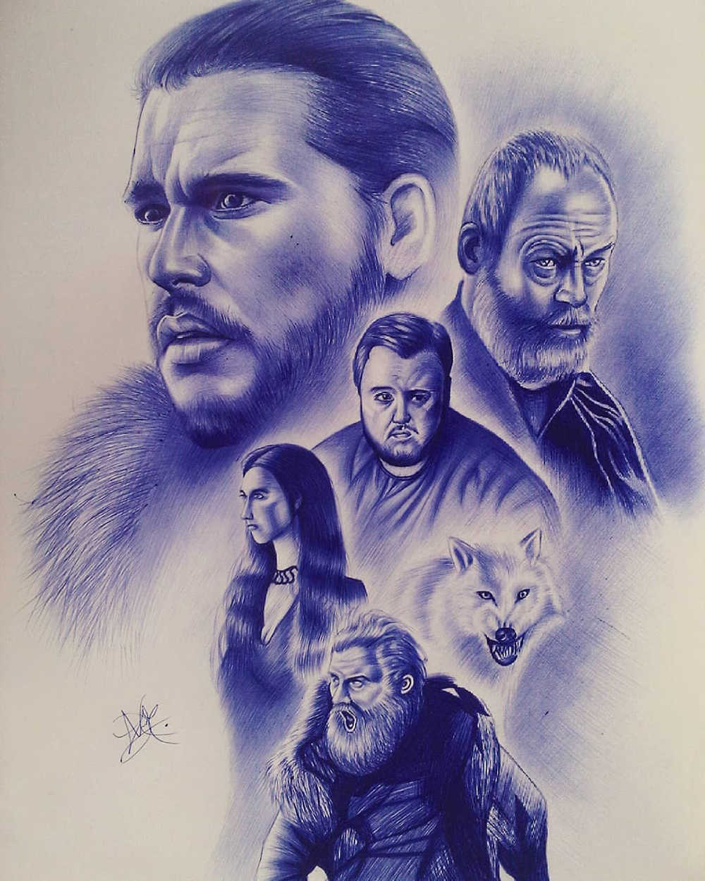 Game of Thrones, ballpoint pen artwork