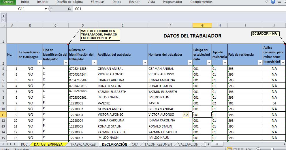 Excel y Empresa: ANEXO RDEP