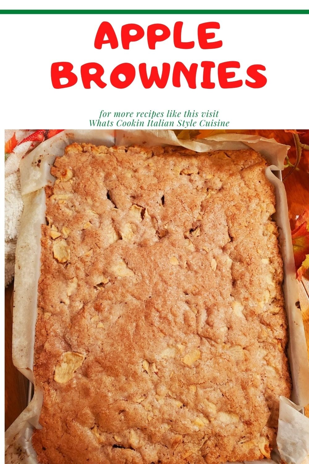 this is a pin for later apple brownie recipe