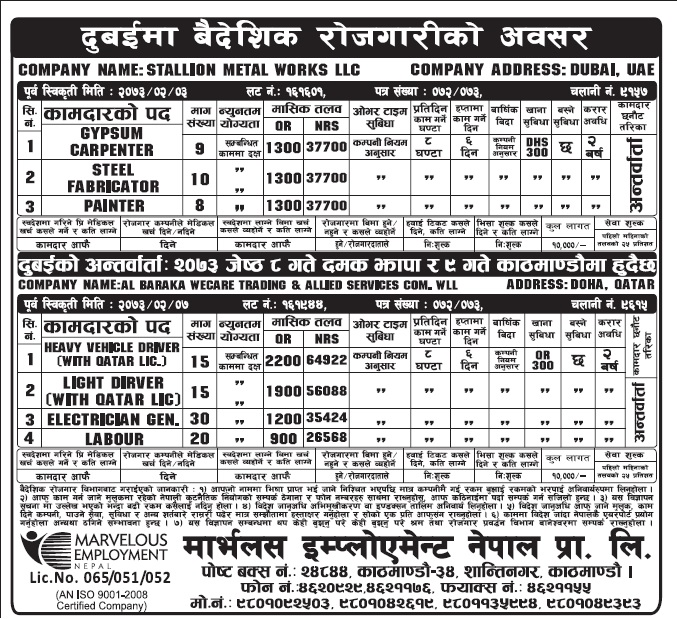 Job Vacancy in Dubai for Nepali, Salary Up to Rs 64922