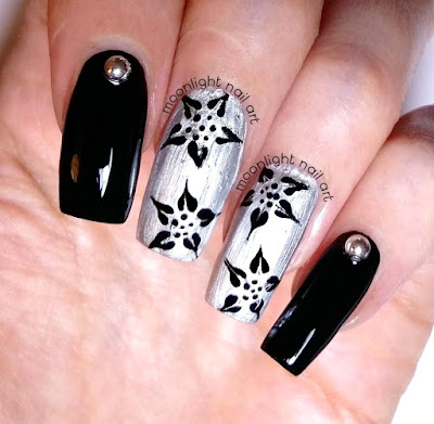 Drag Marble Floral Nail Art: Black and Silver Design Tutorial
