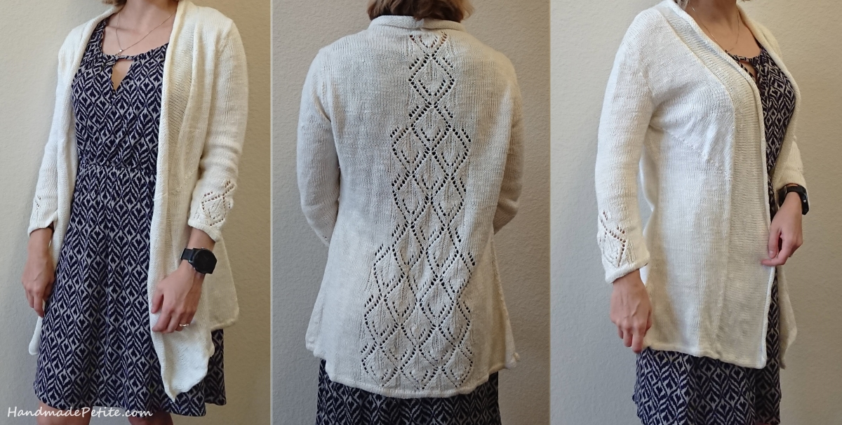 Knitting lightweight cardigan with back lace panel pattern by Patty Lions