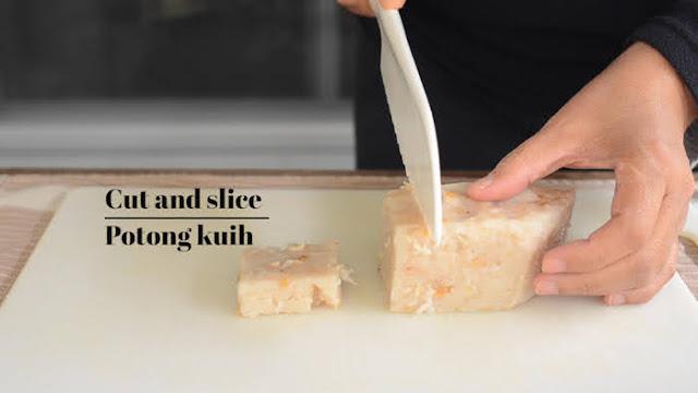 Cut and slice turnip cake
