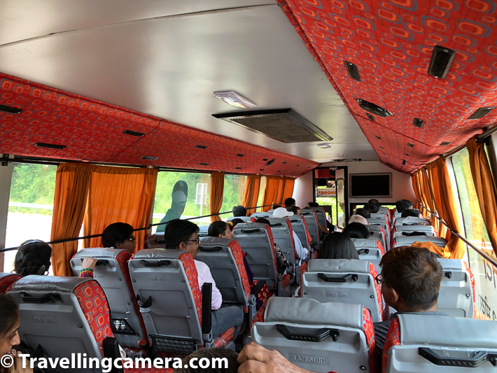 Sardar Sarovar Dam is close to Statue of Unity and if you have ticket for whole tour, you can board AC bus from one of the gates of Statue of Unity & go to the viewpoint which offers great views of Sardar Sarovar Dam. Above photograph shows the view of bus interiors.