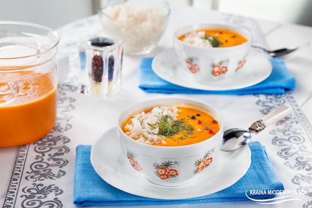 zupa marchewkowa z soczewicą i ryżem, zupa z marchewki, zupa z soczewicy, zupa z ryżem, potrawa z marchewką, potrawa z soczewicą, kraina miodem płynąca