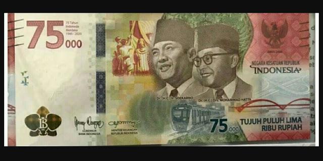 BI Luncurkan Uang Kertas Baru Rp 75.000 Menjelang HUT RI ke-75