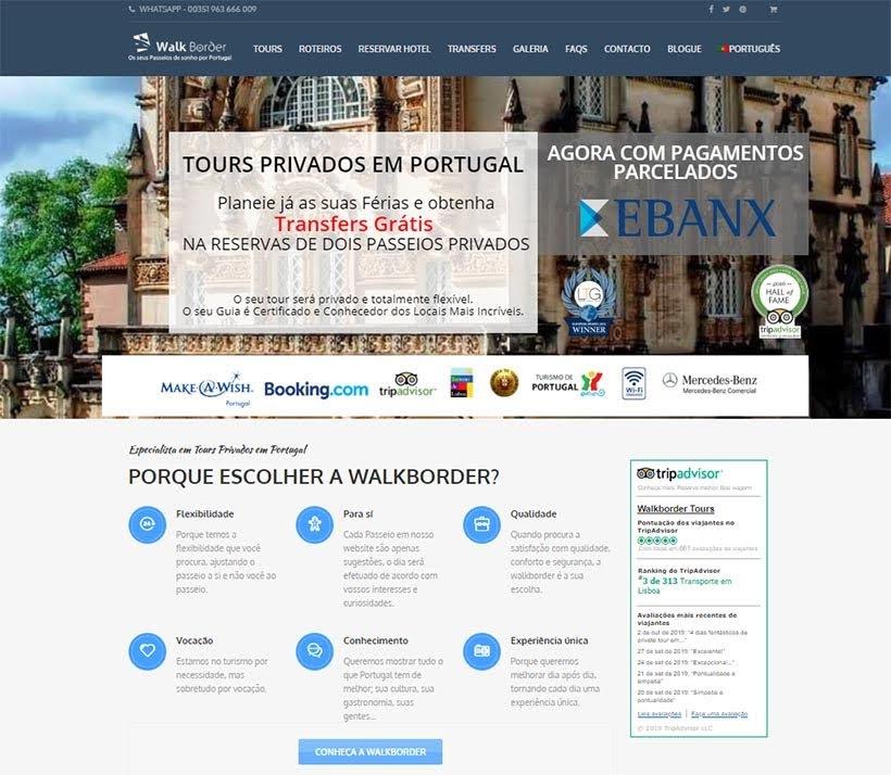 Site da Walkborder: receptivo em Lisboa