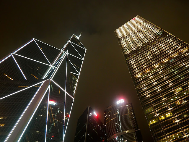 Skyscrapers at night in Hong Kong