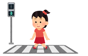 横断歩道と信号機と歩行者のイラスト(女の子・青信号)