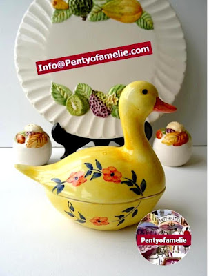 Vintage Portuguese pottery.1980s unique yellow floral motif Majolica Duck faience Tureen and cover