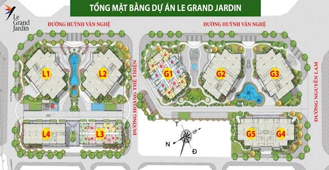 Mặt bằng tổng thể dự án Le Grand jardin Long Biên
