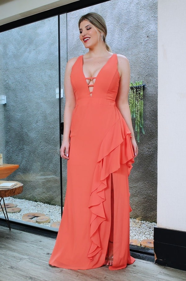 vestido longo coral para madrinha de casamento