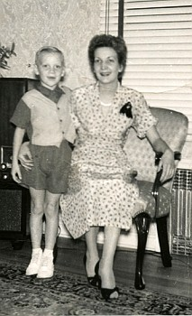 My aunt with her young son, circa 1950-ish.