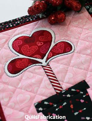 heart theme fabrics make a heart flower in a flower pot by QuiltFabrication