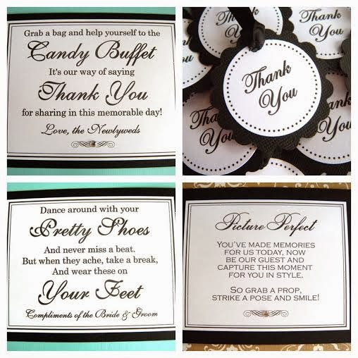 5deddb378ab482 Weddings by Susan  Black and White Wedding Signs and Favor Tags