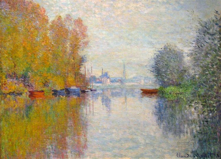Claude Monet, Herbst, Natur, Frieden,  Stille, Herz berühren, landschaft, fluss, spiegelbild, wolken, paintings, malerei, bild, poetische Art