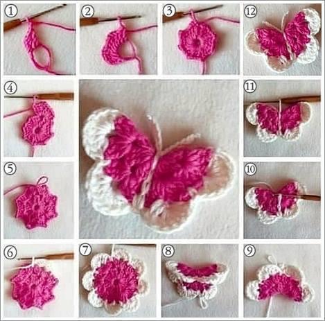 C mo tejer una mariposa crochet paso a paso paso a paso - Como hacer punto de lana para principiantes ...