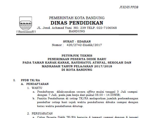 Petunjuk Teknis (Juknis) PPDB jenjang SMP/Mts Kota Bandung 201