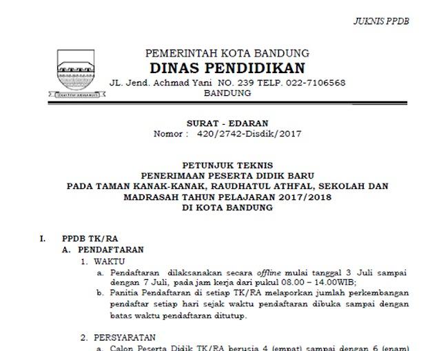 Petunjuk Teknis (Juknis) PPDB SMP/MTs Kota Bandung 2017