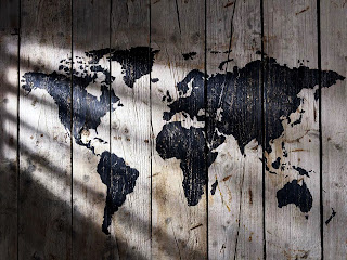 World Map Painted on Wood Texture Lights and Shadows HD Wallpaper