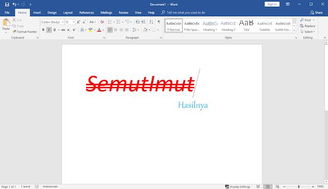 cara mencoret tulisan dalam word