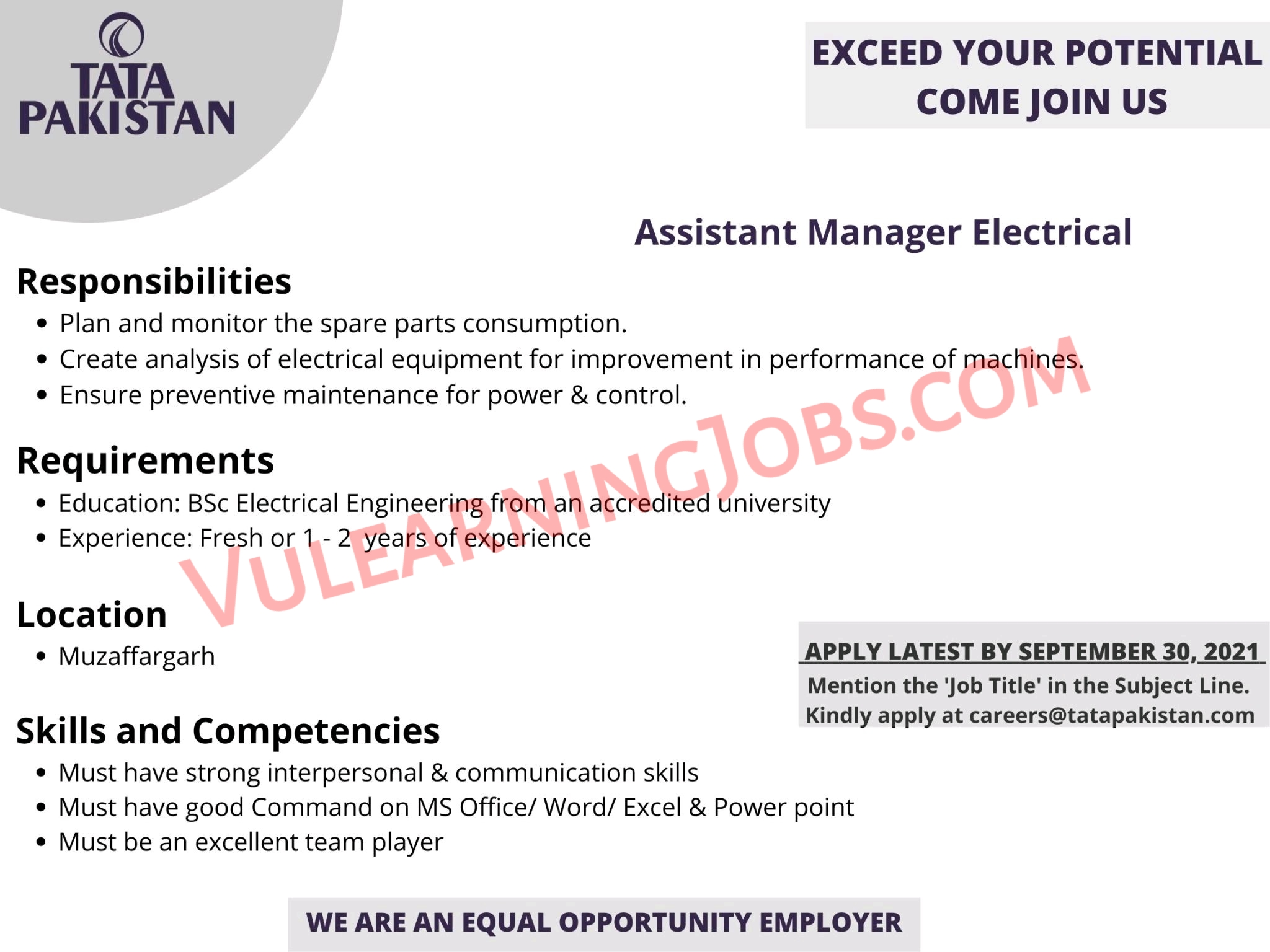 Tata Pakistan Jobs September 2021 For Assistant Manager Electrical Latest