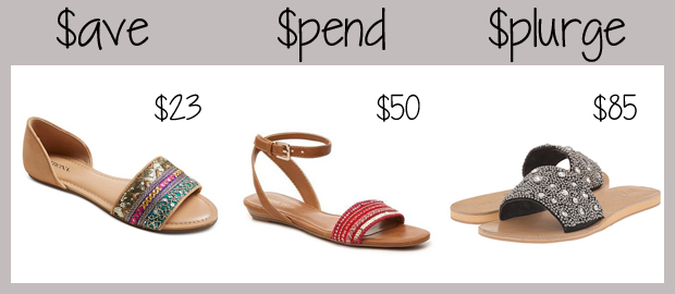 three pairs of flat sandals